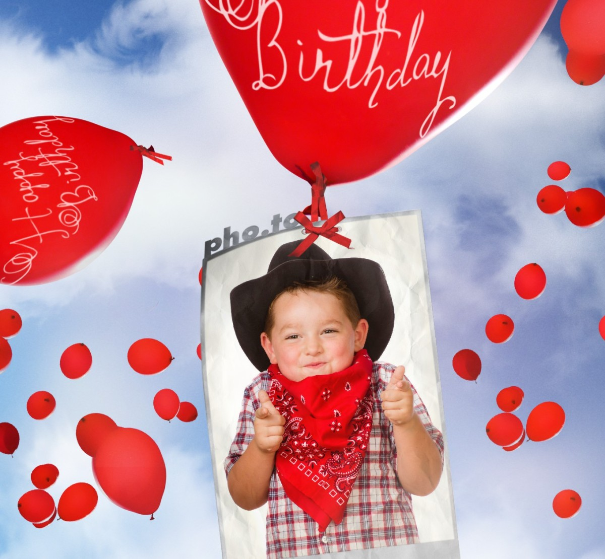 Birthday Card Maker Photo Editor With Flying Balloons Printable Template
