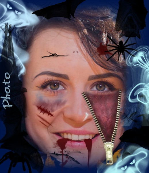 Girl's photo is edited online with fake cuts for Halloween.