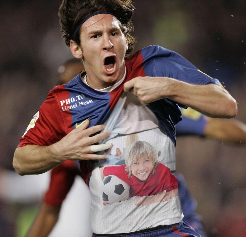 Football photo card with Leo Messi and a custom portrait on FC Barcelona footballer's undershirt.