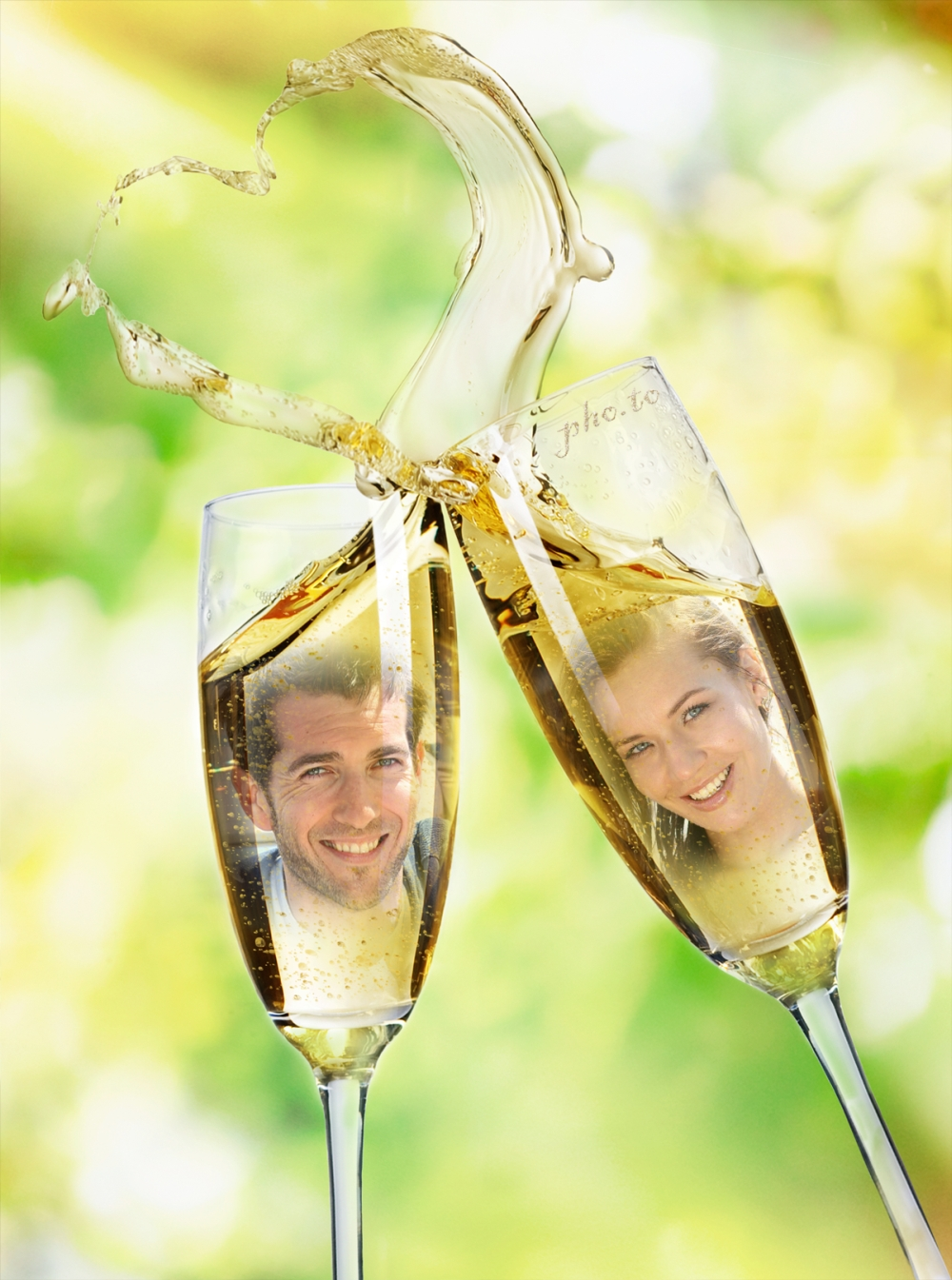 Champagne Glasses Photo Frame : Creative online wedding ecard for two photos.