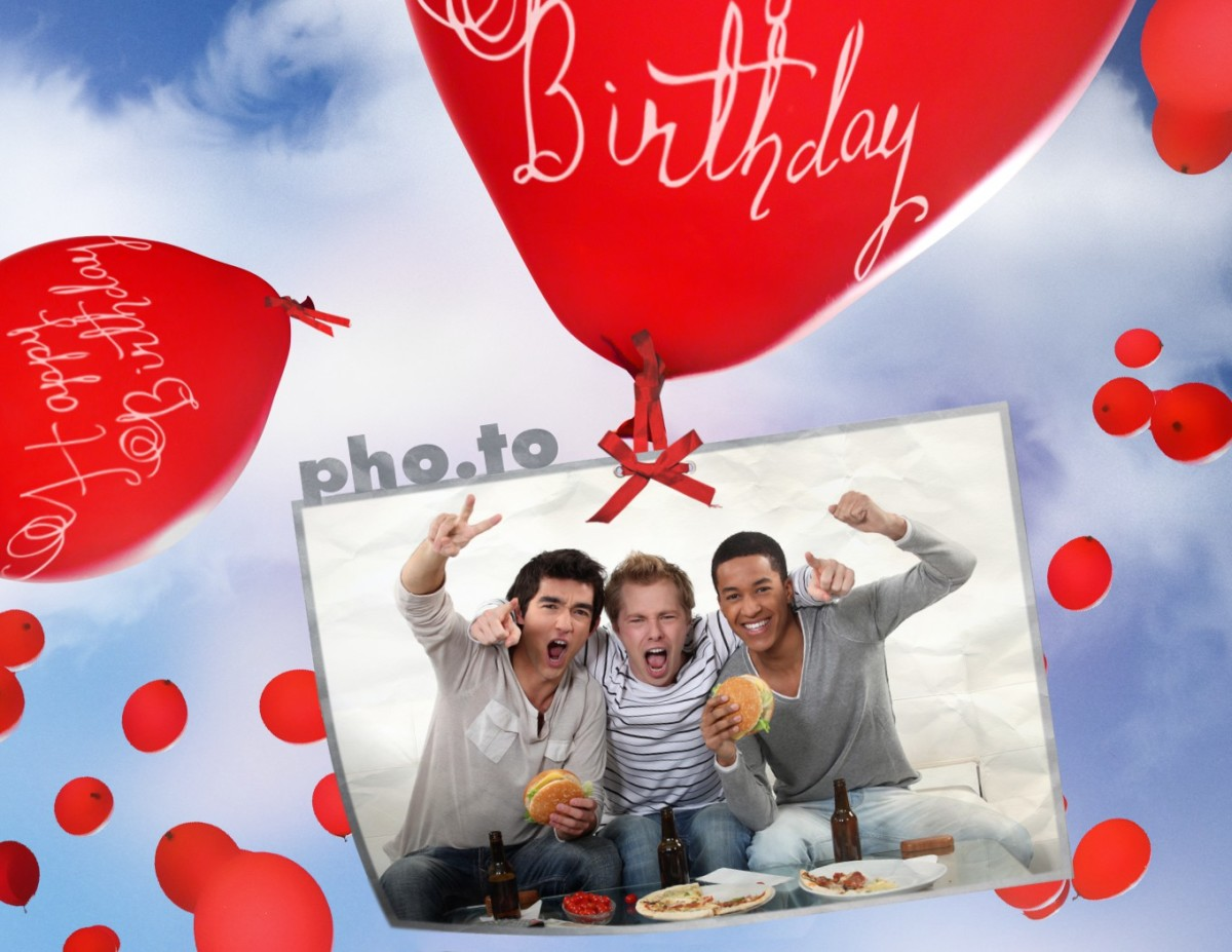 Birthday Card With Flying Balloons! Printable Photo Template